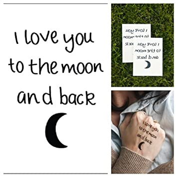 7d2786c793365 Amazon.com : Tattify Night and Day Temporary Tattoos - Moon Love (Set of 2)  : Temporary Heart Tattoo : Beauty