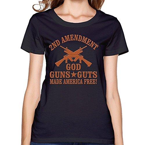 Fashion 2nd Amendment God Guns Guts Womens Tops ()