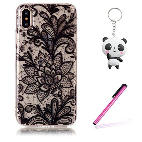 iPhone X Hülle Schwarze blumen Premium Handy Tasche Schutz Transparent Schale Für Apple iPhone X / iPhone 10 (2017) 5.8 Zoll + Zwei Geschenk