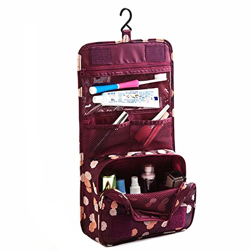SHUYUE Portable Hanging Toiletry Bag Portable Travel Organizer Cosmetic Bag Women Makeup Men Shaving Kit Hanging Hook Vacation (Wine Red - Daisy Wine