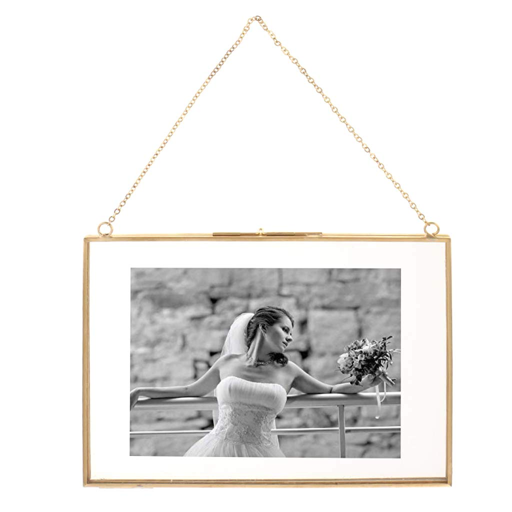 Cq acrylic 11 x 14 Picture Frames Made of Copper and High Definition Glass Display Pictures 8x10 or 11x14 for Wall mounting Photo Frame,Gold,Pack of 1