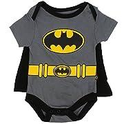 Batman Infant Baby Boys  Creeper Onesie Bodysuit Snapsuit  With Cape (3-6 mo., Grey)