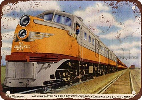 GMNJH 1948 Milwaukee Road Hiawatha Train Vintage Look Reproduction Metal Tin Sign 8X12 Inches