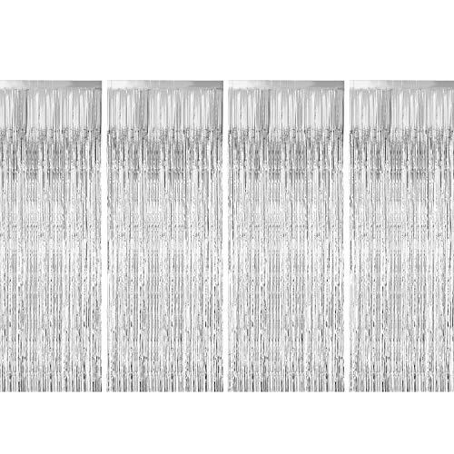 Foil Fringe Curtains, Zealor 4 Pack Metallic Fringe Curtains Shimmer Curtain Backdrop for Parties Birthday Wedding Decorations 3.28ft* 8.2ft