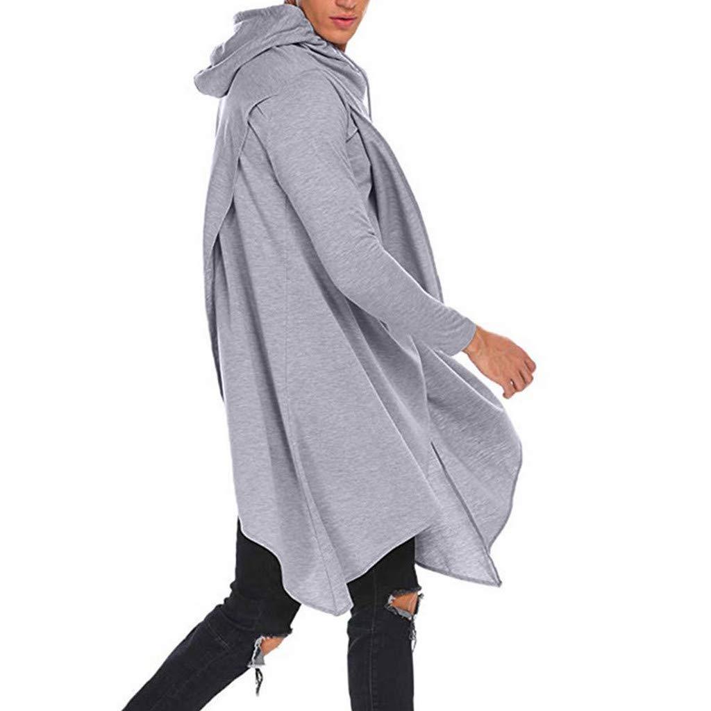 Long Sleeve Hooded Irregular Hem Windbreaker Solid Sweatshirt Sport Outwear Gifts Mens Tops MISYAA Hoodies for Men