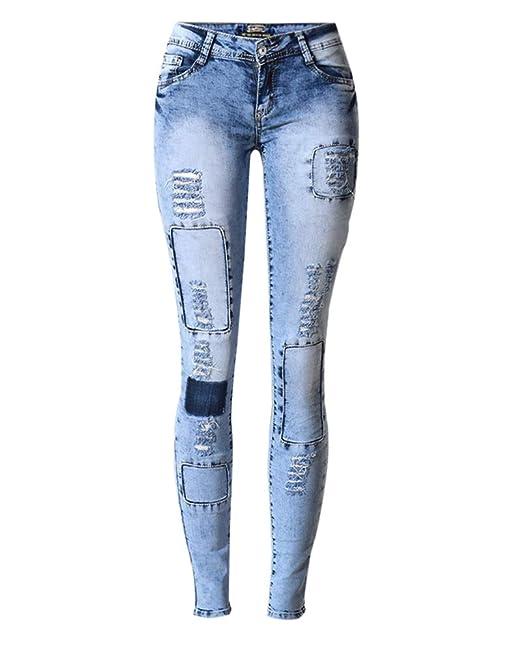 Aden Donna Jeans Slim Fit Vita Bassa Strappato Stretch Toppa
