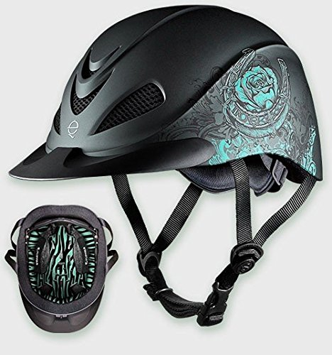 Troxel Rebel Turquoise Rose Low Profile Western Riding Helmet SEI/ASTM Certification (Medium) (Schooling Helmet Troxel Spirit)