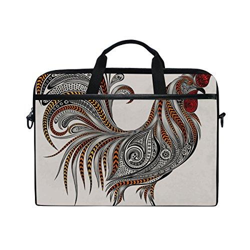 Laptop Bag for Men Women Canvas Shoulder Messenger Bag with Rooster Floral Texture Fits 15-15.4 Inch