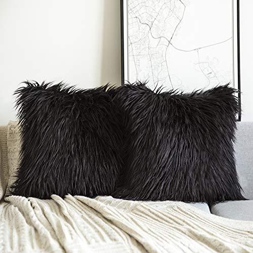 Phantoscope Set of 2 Black Decorative New Luxury Series Merino Style Fur Throw Pillow Case Cushion Cover 18 x 18 inches 45cm x 45cm (Fur Pillow Black)