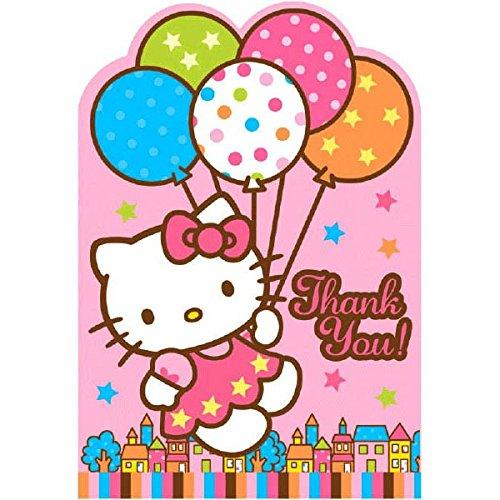 Amscan Hello Kitty Balloon Dreams Die-Cut Thank You Cards, 8-Count -