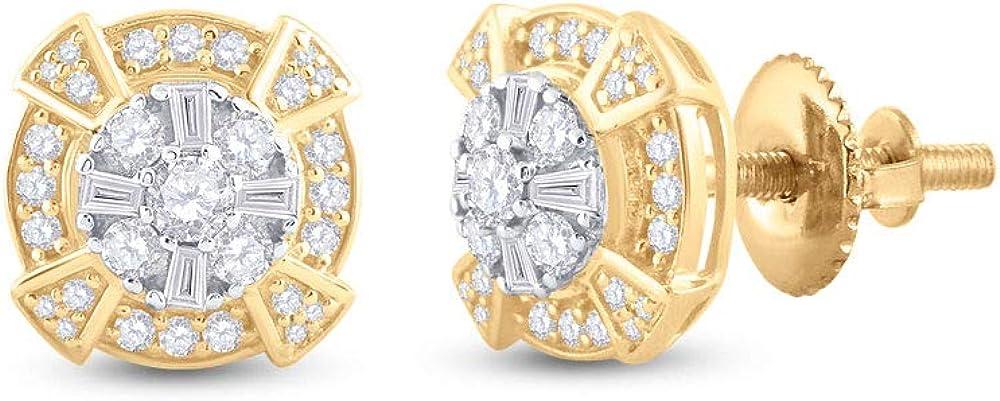 Diamond2Deal Pendientes de oro amarillo de 14 quilates para hombre, diseño de círculo de diamantes, 3/4 quilates
