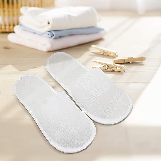 Zapatillas Desechables, Set de 10 Pares de Zapatillas de Hotel/Zapatillas de Viaje/Zapatillas de baño de Rizo, Blancas, Zapatillas Desechables, ...