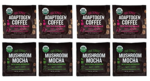 Four Sigmatic Mushroom Coffee Sampler Pack  Organic, Vegan and Paleo Mushroom Coffee Sampler with Chaga, and Adaptogen,(Pack Of 8)