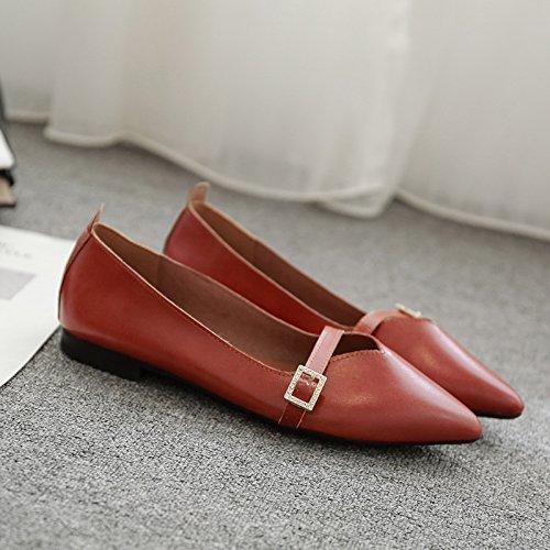 Mujer Boca Cómodo Zapatos Rojo con Zapatos Junta Informal Superficial Planos Solo Zapatos Hembra pie Zapatos e Baja ladrillo Plana con de un Xue Señaló Qiqi x0wqzPCCB