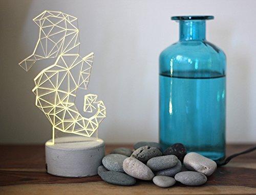 Grey concrete seahorse lamp, animal night light, seahorse night light, Nautical lamp