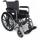 Modelo S220 | silla de ruedas de acero plegable con asiento de 43 cm | Ruedas robustas | Reposapiés y reposabrazos extraíbles | Con bolsillo trasero | Comodidad 100%