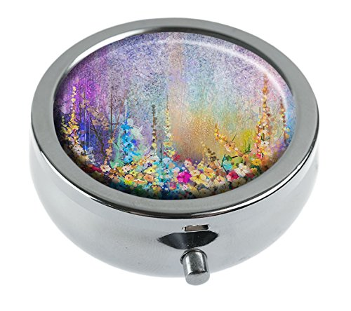Watercolor Pocket Box - Top A Custom Personalized Round Pill box Decorative Box Vitamin Container Pocket Or Wallet (Abstract floral watercolor-1)