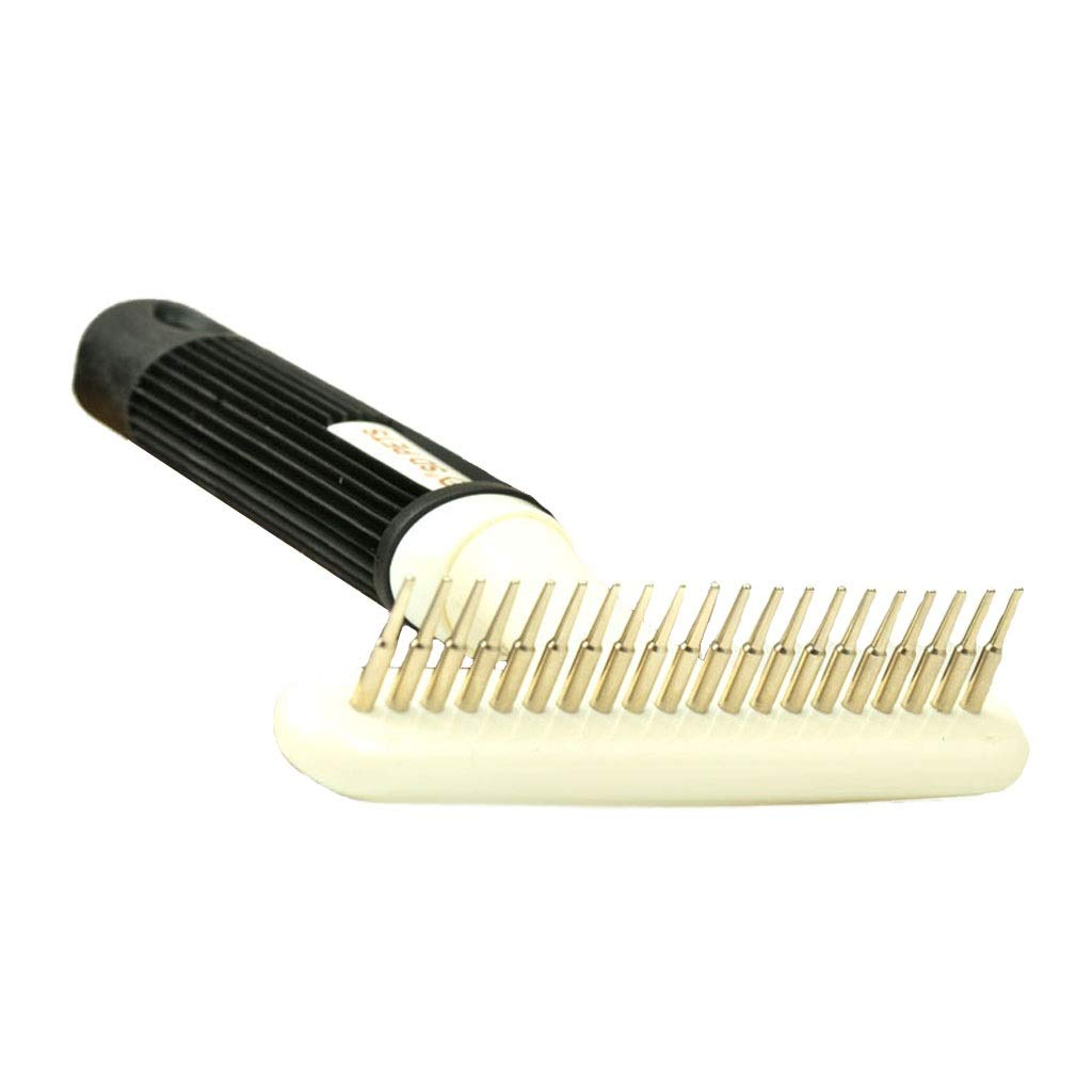 Onnear Pet Grooming Tool Pet Rake-Double Row Stainless Steel Comb Teeth,Gently Removes Loose Undercoat, Mats and Tangled Hair(White)