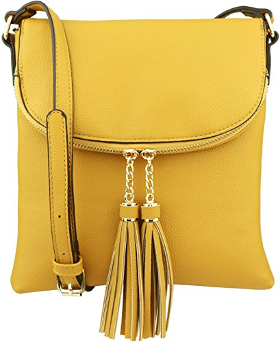 BRENTANO Tassel Medium Over B Accents Yellow Vegan Crossbody with Handbag Flap 7gFFxwU