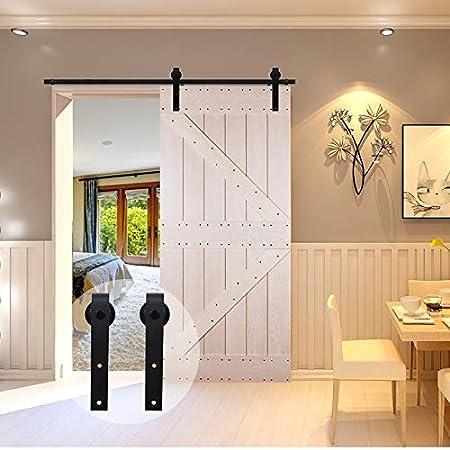 9.6FT//292cm Sliding Barn Wood Door Hardware Closet Track Kit Single door Portes coulissantes Mat/ériel Trousse Unique patin /à roulettes