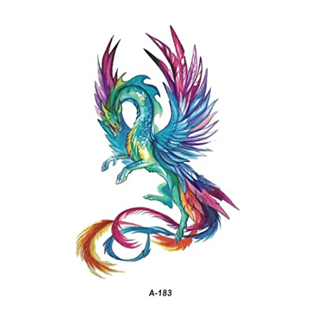 Wuaixin Acuarela Phoenix Dragon Tatuaje Temporal Niños Mano ...