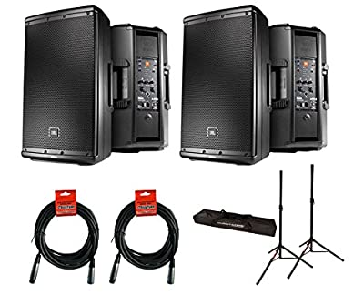 2x JBL EON612 + Stands w/ Bag + Cables by JBL