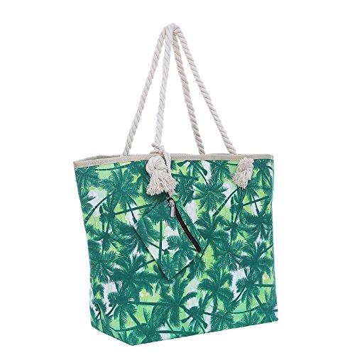 Bolsa de playa grande con cremallera 58 x 38 x 18 cm palmas verde blanco shopper bolsa de hombro bolsa de Miami Florida Verde-Blanco