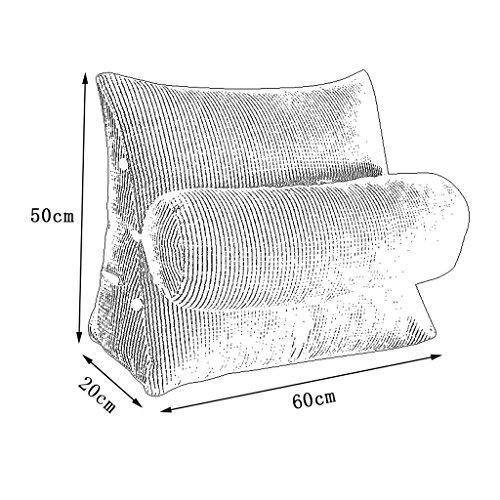 Triangle Sofa Bed Headrest Headboard Pillow With Headrest Lumbar Pillow Backrest Waist Pads Office Pillow Bay Window Cushion Back Green (Size : 60cm20cm50cm) by HN Bed pillows (Image #3)