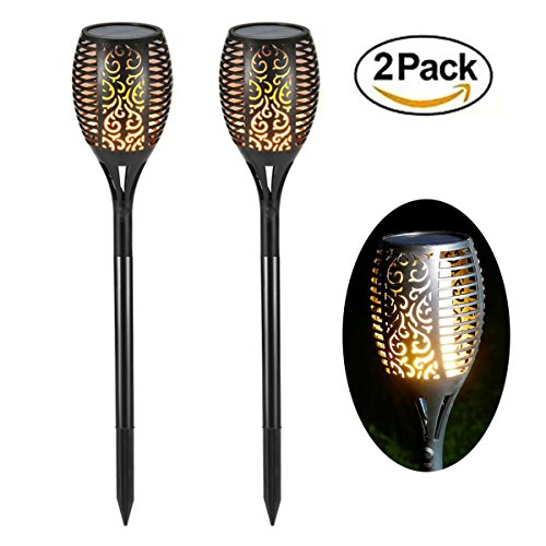 Solar Garden Torch Lights 96 LED Dancing Flame Lighting Outdoor Waterproof Flickering Tiki Torches Landscape Light Path Decoration Lamp(2 Pack) (Unique Kitchen Lighting)