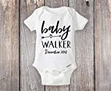 Pregnancy Reveal Onesie® Boho Arrow With Baby's Last Name - Can also be personalized with date or any text!