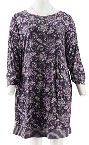 (Carole Hochman Batik Stripe Sleepshirt Set Charcoal 2X New A294073)
