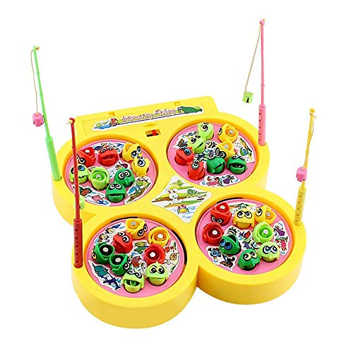 HanYoer Fishing Game Toy Set, Safe and Durable Gift Toy for Toddlers and Kids Includes 32 Fish and 4 Fishing Poles -