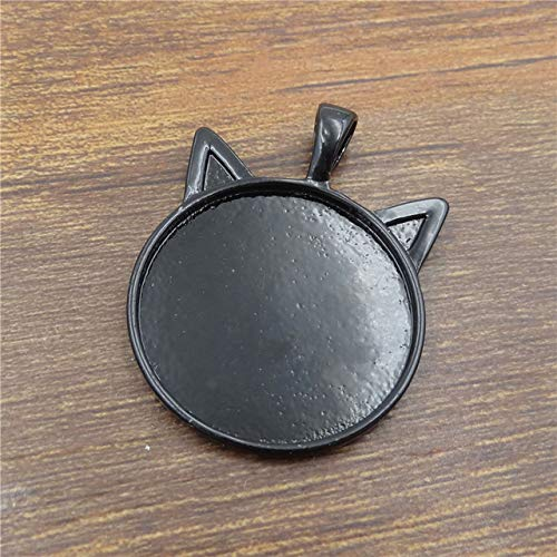Laliva 10pcs 25mm Silver/Black/Bronze Necklace Pendant Setting Cabochon Cameo Base Tray Bezel Blank Cat Ear Jewelry Findings&Components - (Color: Black) ()