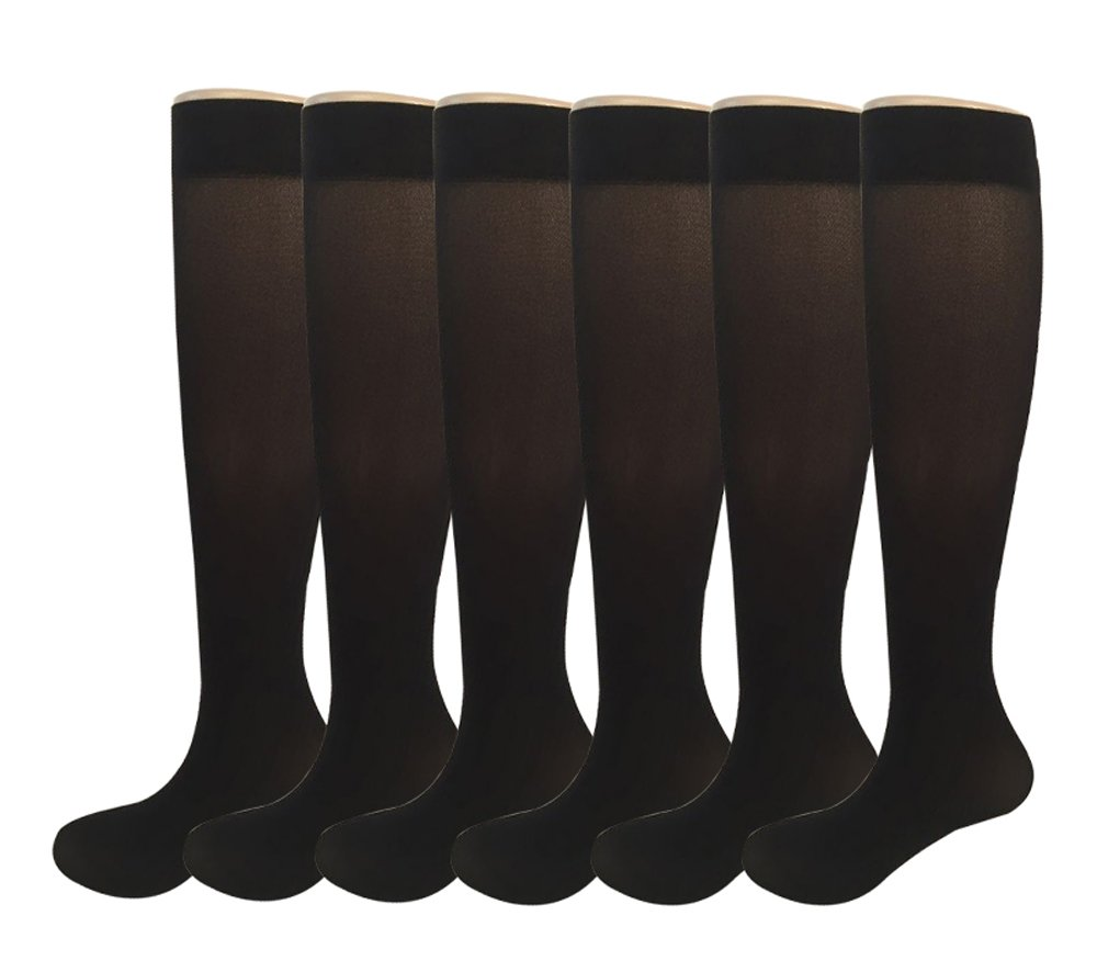 6 Pairs Women's Opaque Spandex Trouser Knee High Socks Queen Size 9-11-black