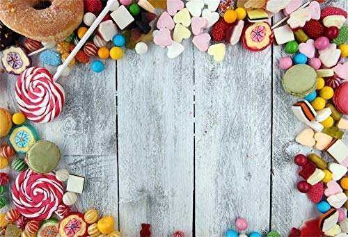 (AOFOTO 7x5ft Candies Lollipop on Wooden Board Background Kids Baby Happy Birthday Backdrop Newborn Portrait Photoshoot Baby Shower Candy Land Themed Party Decoration Photo Studio Props)