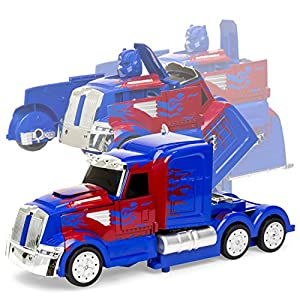 Best Choice Products 27MHz Transforming RC Semi-Truck Robot Remote Control Toy w/Dance Modes, Music, Sword, Shield