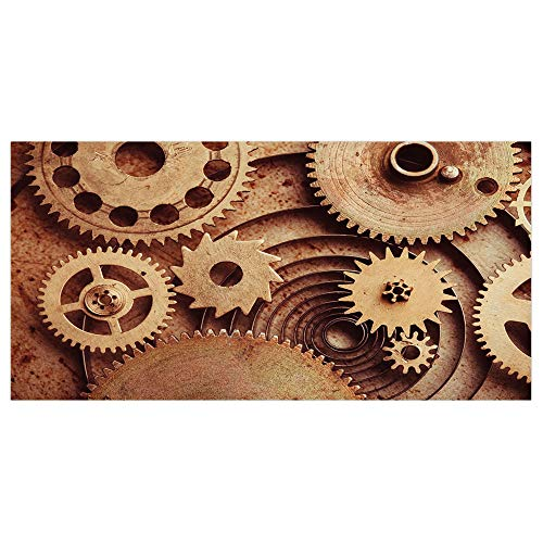 Mechanical Clock Copper (iPrint 47.2x23.6 Floor/Wall Sticker Removable,Industrial Decor,Inside The Clocks Theme Gears Mechanical Copper Device Steampunk Style Print,Cinnamon,for Living Room Bathroom Decoration)