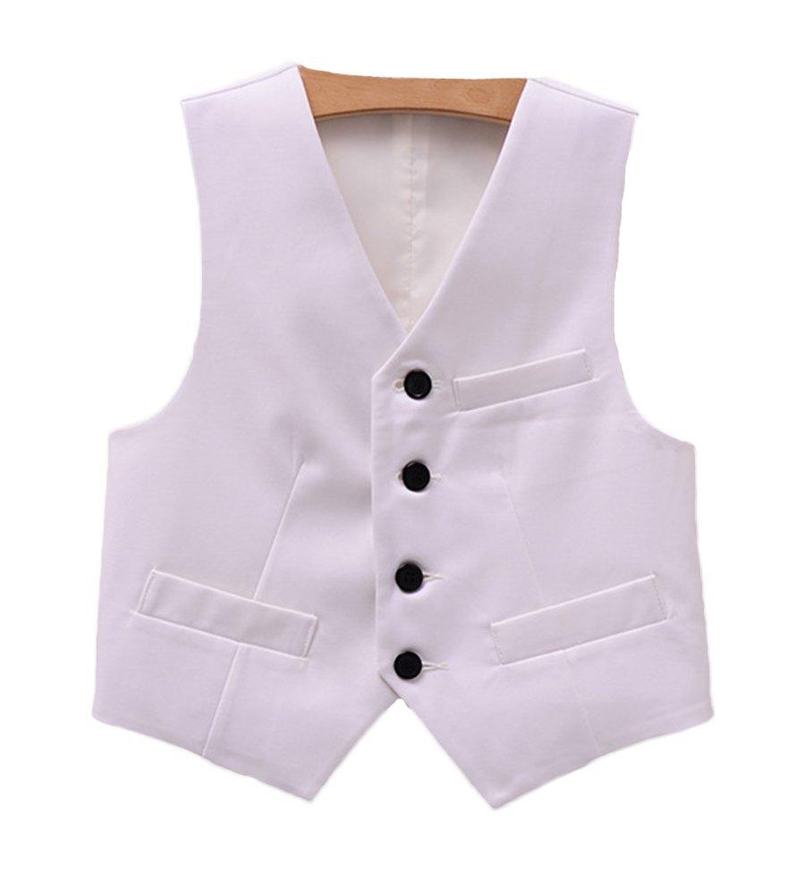 SK Studio Boys' V Neck Formal Wedding Solid Color Dress Vest