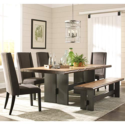 (A Line Furniture Hand-Crafted Design Trestle Base Dining Set with Live Edge and Natural Knots 1-Table, 4-Chairs, 1-Bench)