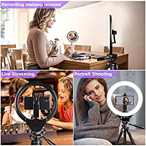 """EICAUS 10"""" Ring Light with Stand and Phone Holder, Cell Phone Tripod with Ringlight for Live Streaming/Makeup/Photography, Compatible with Phones and Cameras(Black)"""