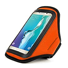 For Samsung Galaxy S6 Edge Plus Armband - Newly Water Resistant Sports GYM Running Workout Armband Cellphone Case for LG G4 / LG G3 Stylus / LG G Flex2 / LG G STYLO (Orange)