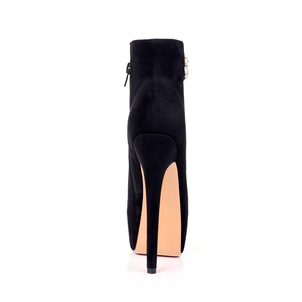 Onlymaker Damen Pumps Stiletto Stiefel High Heels Kurzschaft Stiefelette mit mit Stiefelette Plateau Schwarz Shin e1ce0a
