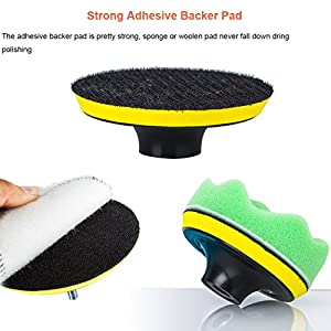 APG 9pcs 7 Inch Compound Drill Buffing & Polishing Sponge Pads Kit for Car Sanding, Waxing, Sealing Glaze - 6 Sponge Pads + 1 Woolen Pads + 1 Adhesive Pad + 1 Thread Drill Adapter - Multi Color