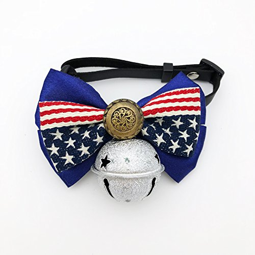 PetFavorites American Flag Dog Cat Collar Bow Tie - Patriotic Bowtie Leather Medium Large Dog Necklace with Bell - Golden Retriever Sheepdog Clothes Costume Outfits Accessories (Pattern B, Size XL)