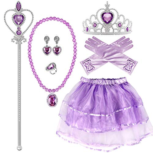 Princess Dress up Sofia Dress Gloves Tiara Wand Necklace Earrings Ring Party Supplies Princess Accessories for Girls