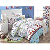 Cliab Fox Bedding Woodland Bed sheets Full Size Kids Girls Duvet Cover Set 100% Cotton 5 Pieces