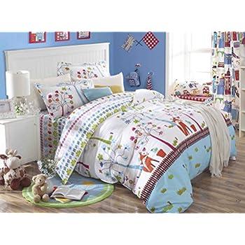 Amazon.com: Cliab Fox Bedding Woodland Bed sheets Full Size Kids ...
