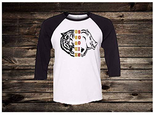 Handmade Football Shirt College Football House Divided Arkansas LSU Half Hog Half Tiger