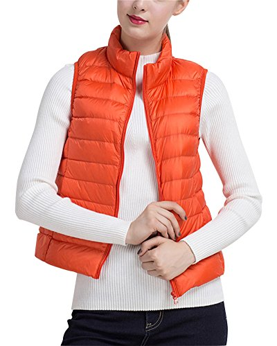 Blouson Gilet Orange Manteau Veste Légère Pour Matelassé Femme Manche Parka Sans Ultra Cwqx1Sq