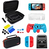 Accessories Kit Bundle for Nintendo Switch, Travel Case Carrying Case Grips Kit Stand TPU Cover HD Screen Protector Game Card Case for Your Switch and Joy-con(24 in 1)